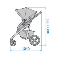 Maxi-Cosi Lila Stroller Side View Dimensions: 1040mm wide x 1000mm to 1055mm high